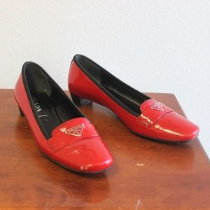 Vintage PRADA Red & Black Buckle Loafers Sz 36.5